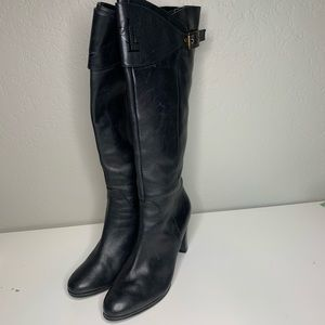 Lauren Ralph Lauren Black Leather Heeled Boots 8.5